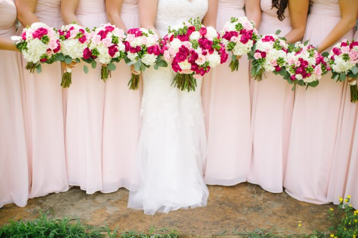 Red And Pink Bouquets | Pure Water Farm Wedding Tennessee | JoPhoto | Via MountainsideBride.com