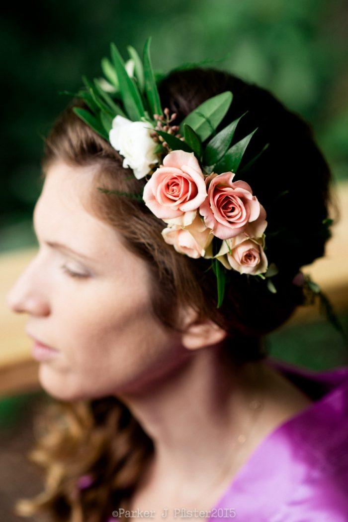 Rose Floral Crown Cashiers NC Wedding | Parker J Pfister |via Mountainside Bride