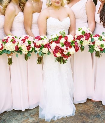 Red And Pink Bouquets   Pure Water Farm Wedding Tennessee   JoPhoto   Via MountainsideBride.com