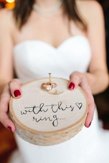 3 Wooden Ring Holder | Vermont Fall Wedding | Lex Nelson Photography | Via MountainsideBride.com