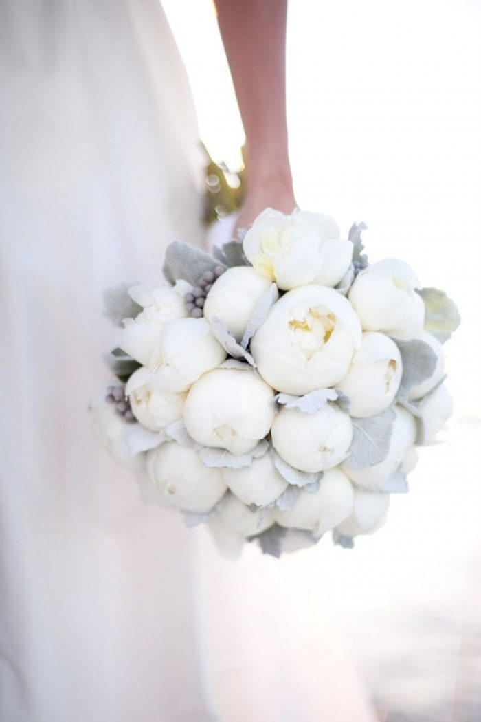 1 White Peony Bouquet Pantone 2017 Wedding Inspiration Neutral Gray 736