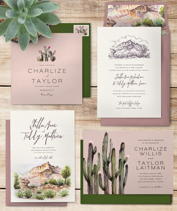 National Park Wedding Invitations Greenvelope DesertSuite