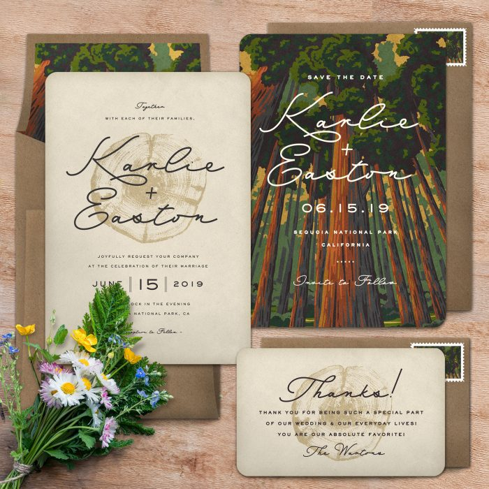 National Park Wedding Invitations Sequioa N 4 Opt